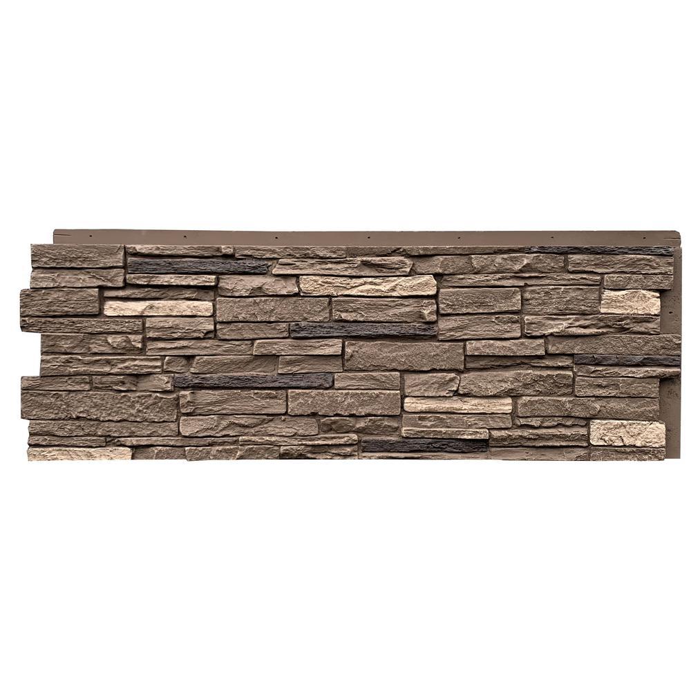 Slatestone Large 43 in. x 15.5 in. Polyurethane Faux Stone Panel in Brunswick Brown