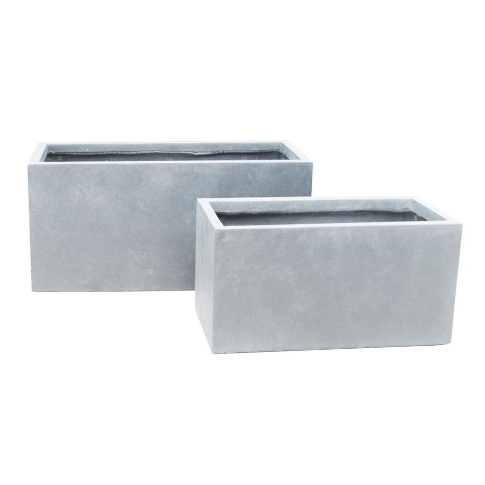 Kante 31 In And 23 In L Slate Gray Lightweight Concrete Modern Low Granite Outdoor Planter Set Of 2 Rf0104ab C60611 The Home Depot