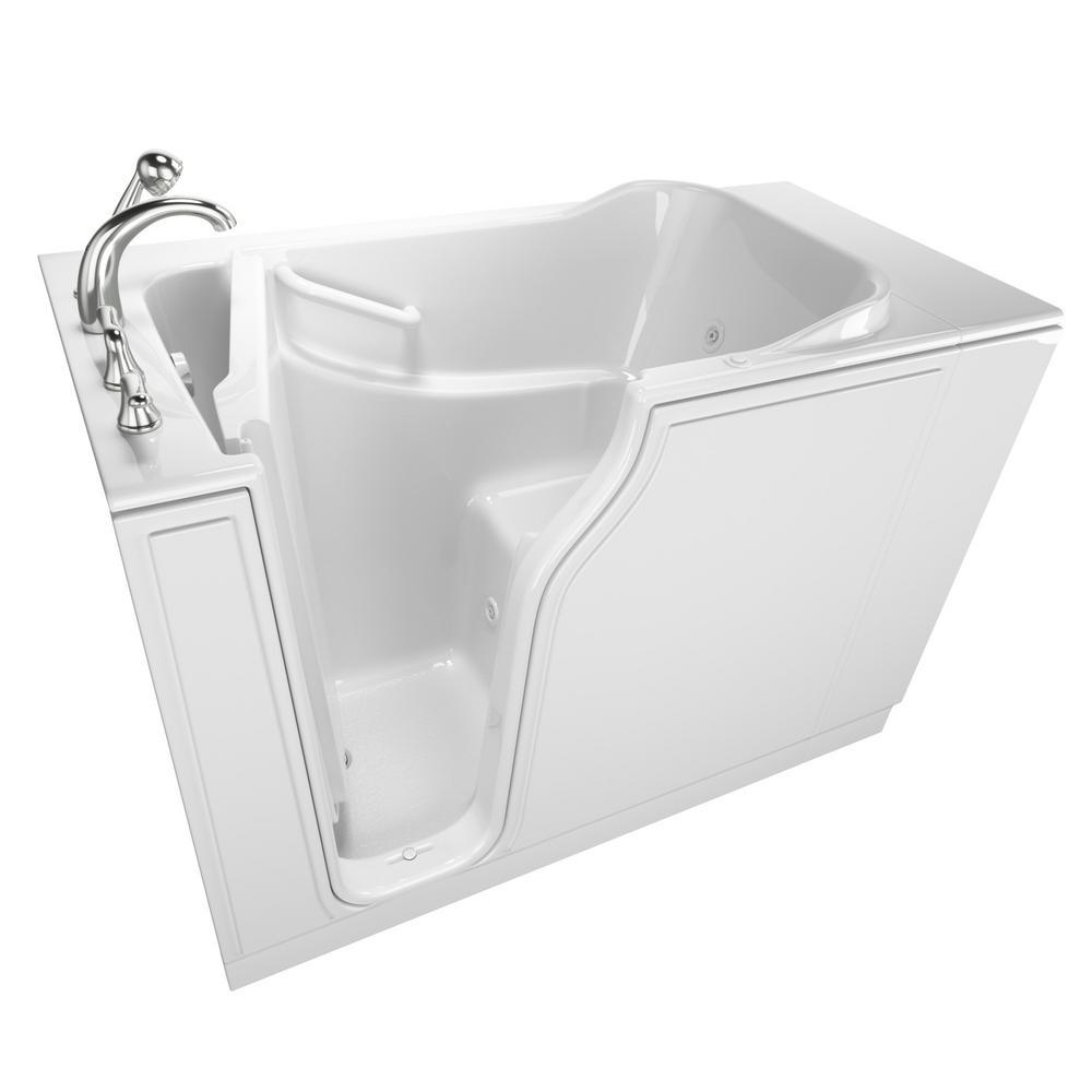 Gelcoat Entry 52 in. Left Hand Walk-In Whirlpool Bathtub in White