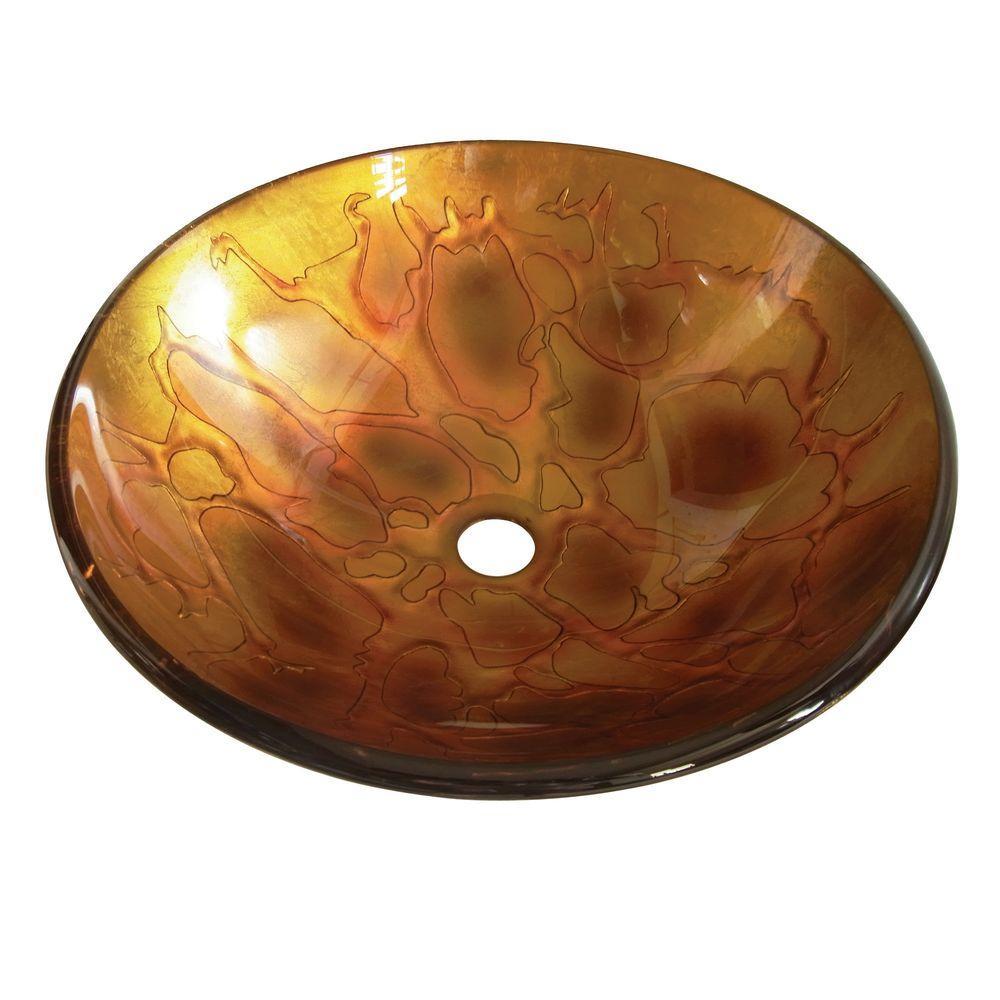 Glass Vessel Sink in Amber Fire
