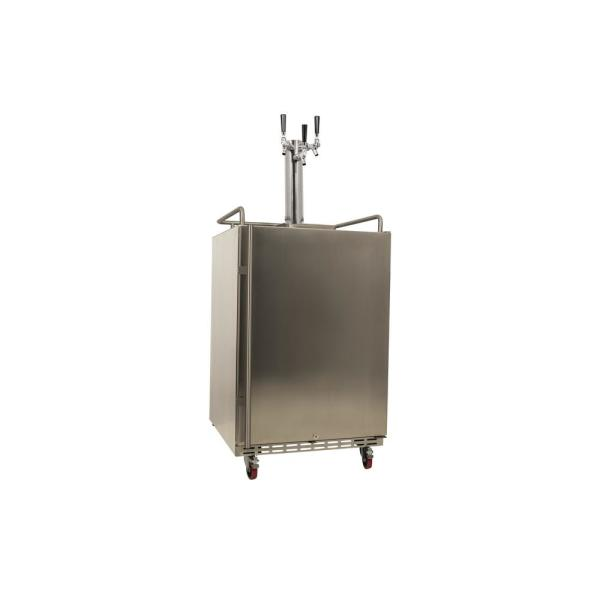 Triple Tap 24 in. Oversized Beer Keg Dispenser with Electronic Control Panel in Stainless Steel