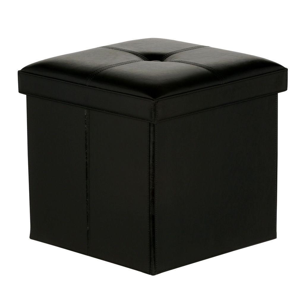 Black Folding Ottoman