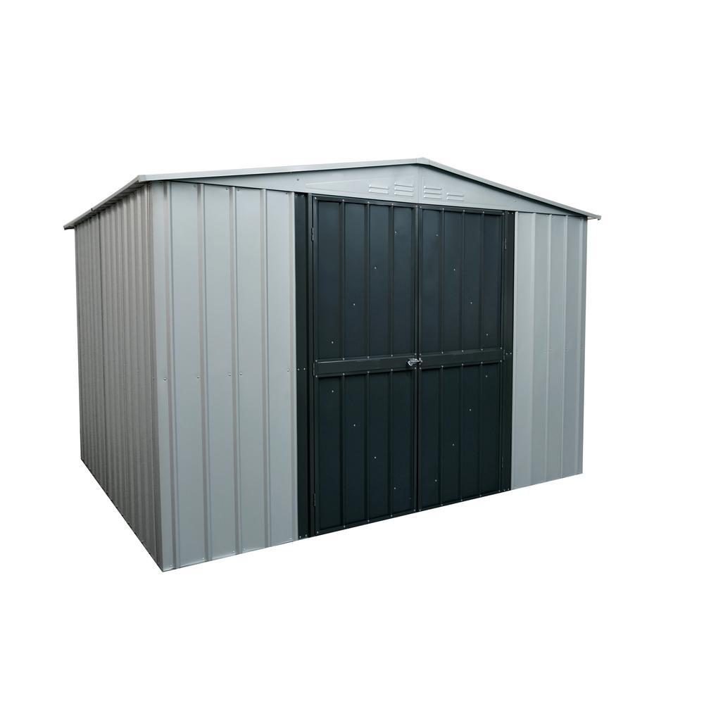 Globel Gable 10 ft. x 8 ft. White Aluminum Metal Shed