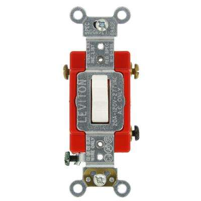 20 Amp Industrial Grade Heavy Duty 3-Way Lighted Handle Toggle Switch, White
