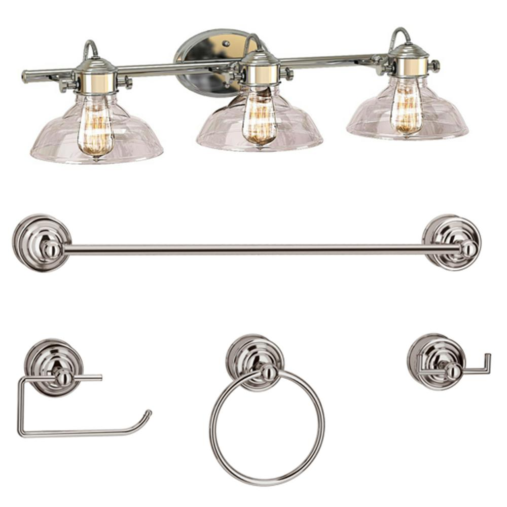 Bel Air Lighting 3-Light Polished Chrome Vanity Light Set with Clear Glass Shades