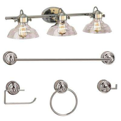 3-Light Polished Chrome Vanity Light Set with Clear Glass Shades
