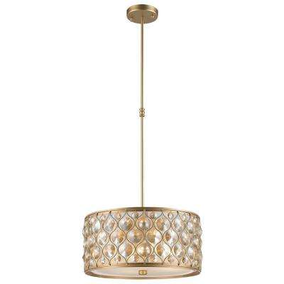 Paris 1 Light Matte Gold With Clear And Golden Teak Crystal Pendant