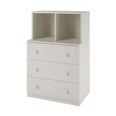 Jewel 3-Drawer White Dresser with Cubbies