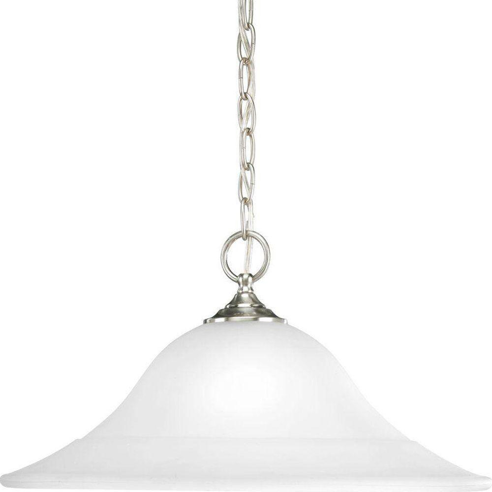 Trinity 1-Light Brushed Nickel Pendant with Etched Glass