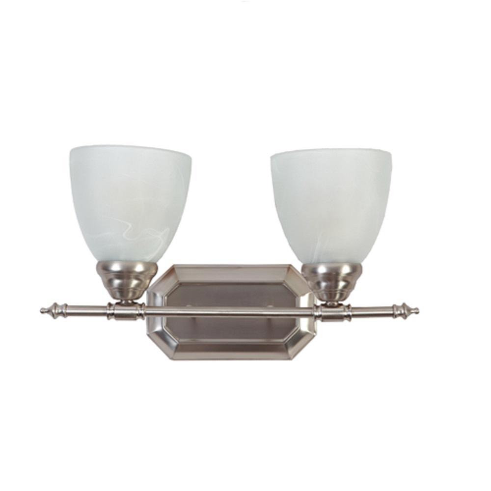 Jeffrey 2-Light Brush Nickel Bath Vanity Lighting