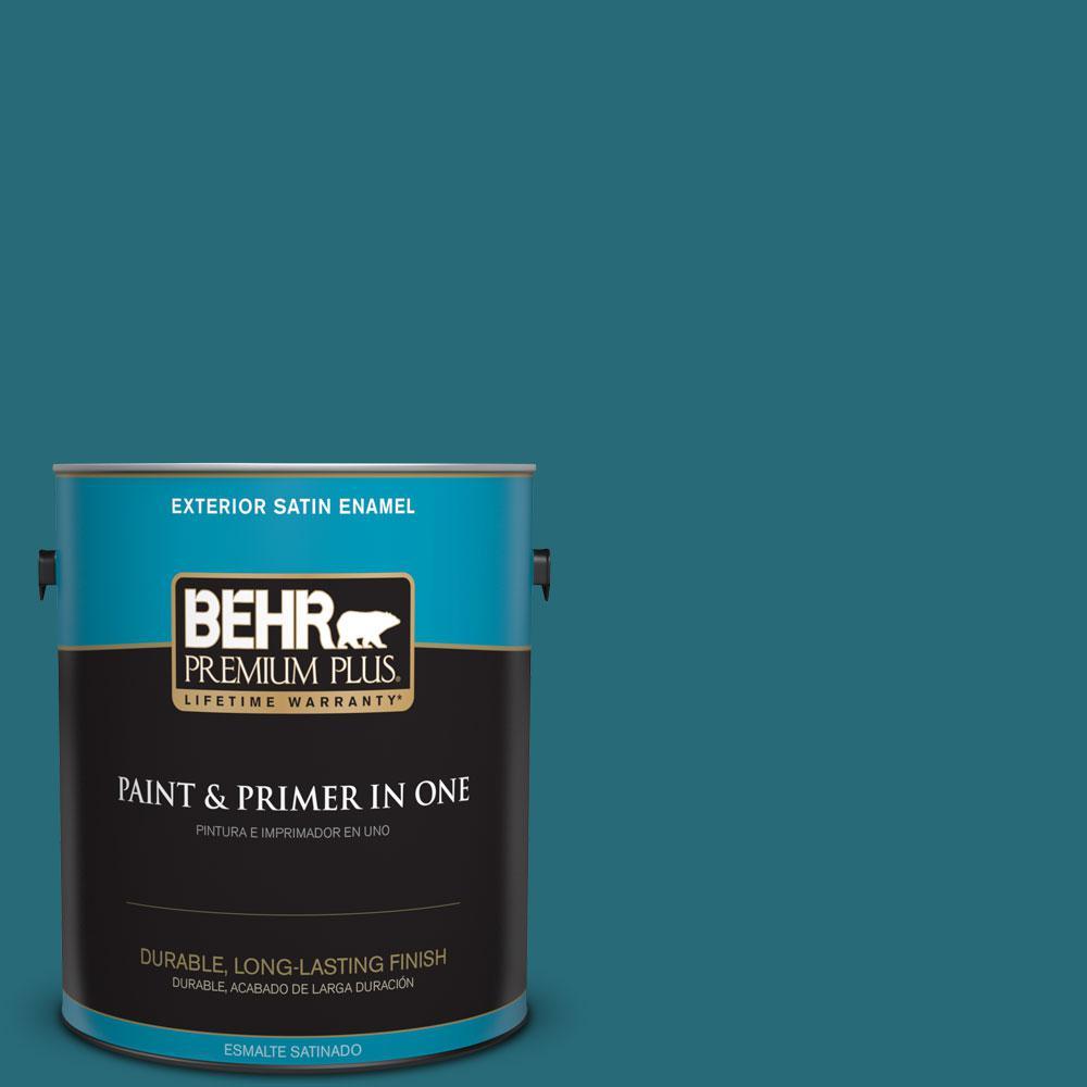 BEHR Premium Plus 1-gal. #M470-7 Blue Stream Satin Enamel Exterior Paint