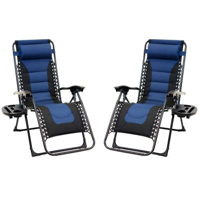 Black Frame Blue and Black Patio Premier Padded Gravity Foldable Chairs with Foot Cover and Big Cupholder (2-Pack)