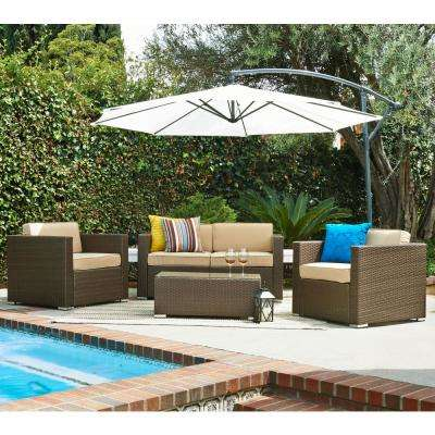 Cane Garden Dark Brown 5-Piece Wicker Patio Conversation Set with Beige Cushion