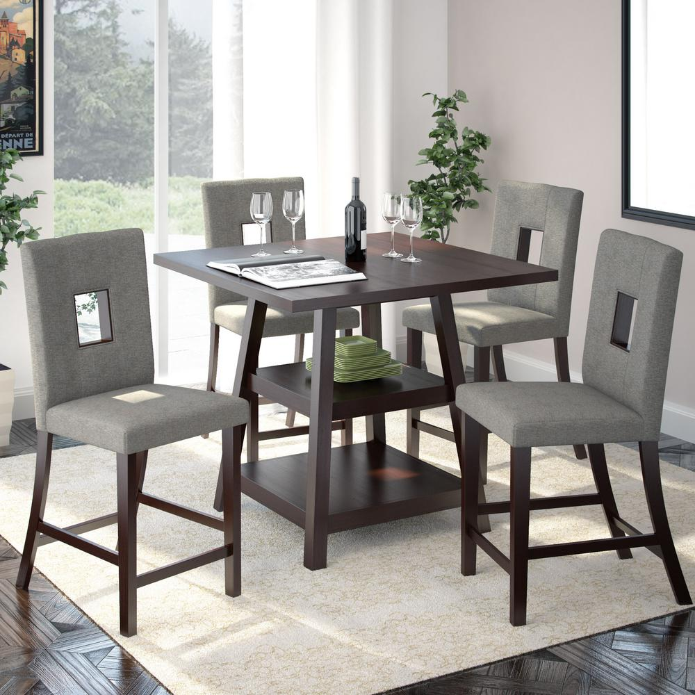 CorLiving Bistro 5 Piece Cappuccino And Pewter Grey Dining Set