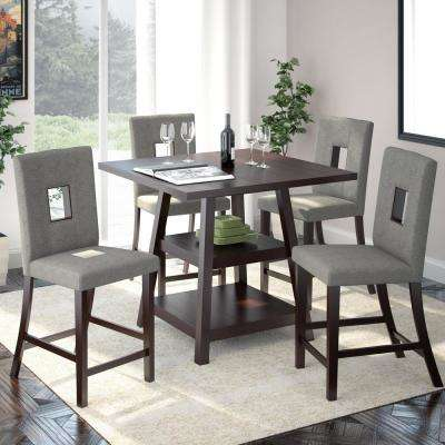 Bistro 5 Piece Cappuccino And Pewter Grey Dining Set