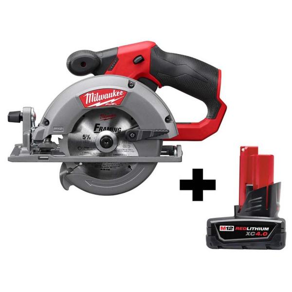 M12 FUEL 12-Volt Lithium-Ion Brushless 5-3/8 in. Cordless Circular Saw with 4.0 Ah M12 Battery