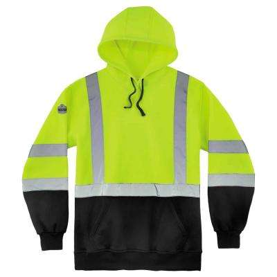 GloWear Men's 3X Large Lime and Black Class 3 Pullover Hi-Vis Hooded Sweatshirt