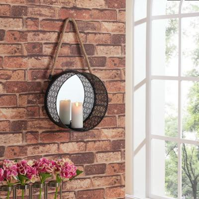 Round Filigree Black Metal Wall Candle Sconce with Mirror