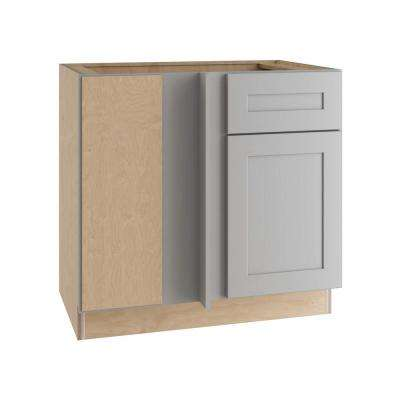 Tremont Assembled 36x34.5x24 in. Blind Base Corner Cabinet 1 Soft Close Drawer 1 Soft Close Door Left Hand in Pearl Gray