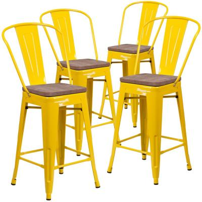 39.25 in. Yellow Barstool (Set of 4)