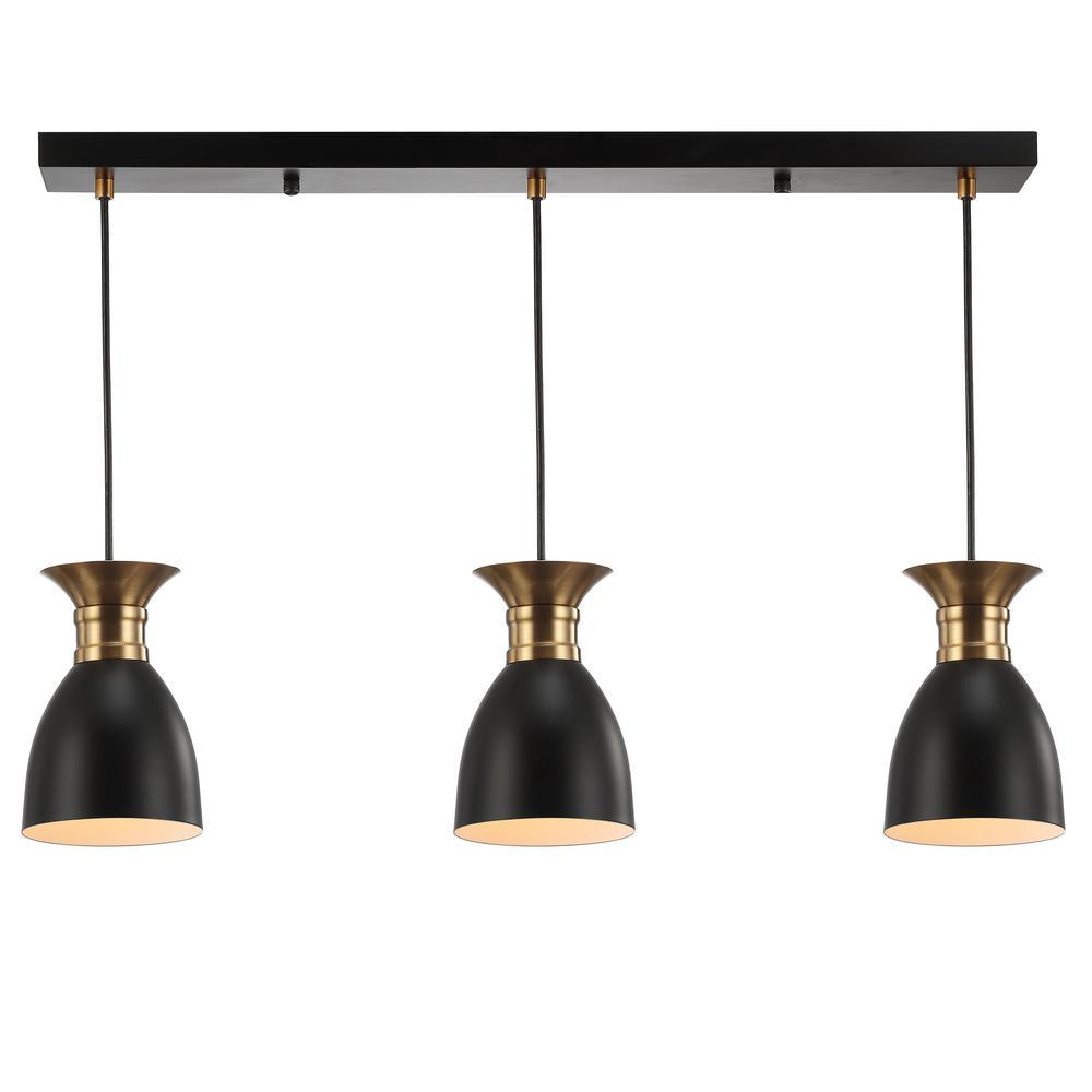 Edison 5.75 in. 3-Light Black/Brass Gold Metal Linear LED Pendant