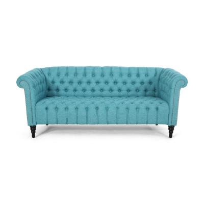 Barneyville 72.5 in. Teal/Black Polyester 3-Seater Chesterfield Sofa with Flared Arms