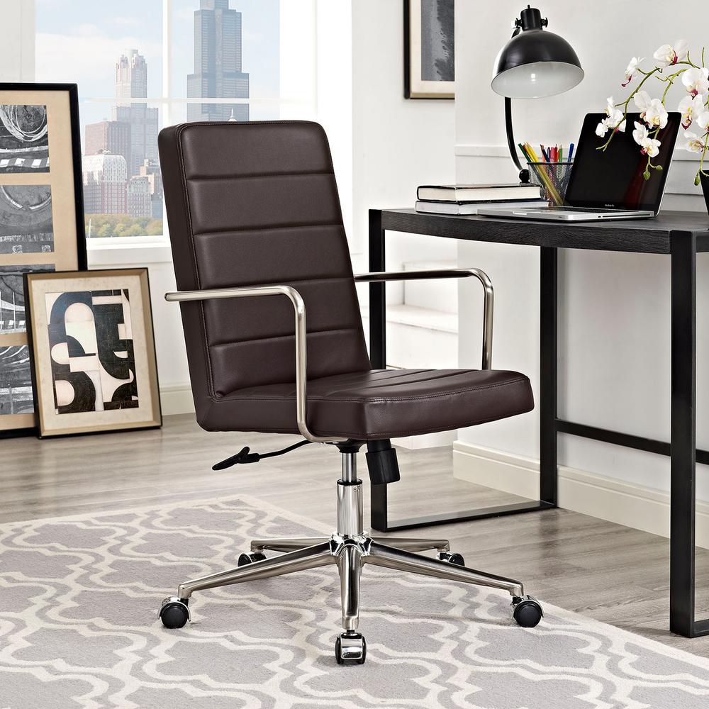 MODWAY Cavalier Highback Office Chair in Brown EEI-2124-BRN