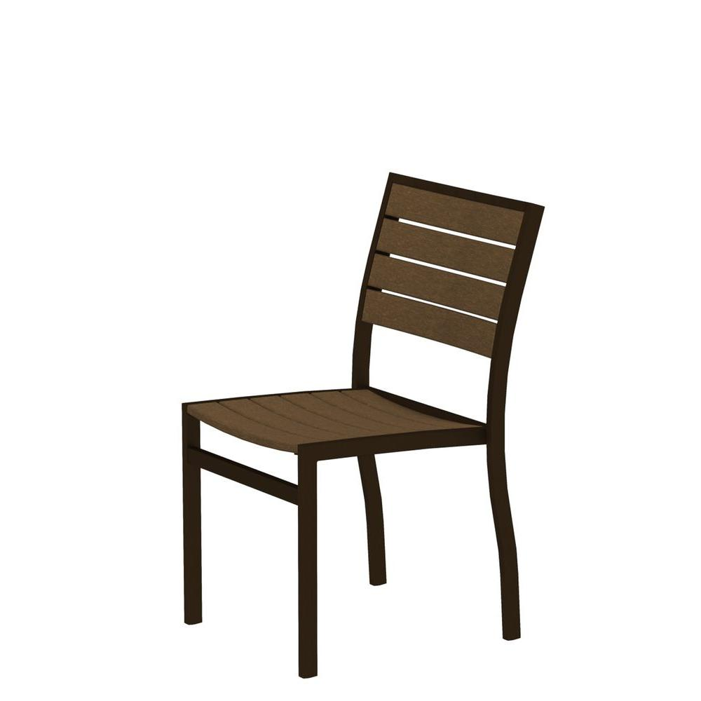 Euro Textured Bronze Patio Dining Side Chair with Teak Slats