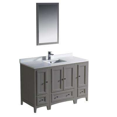 Warwick 48 in. Bathroom Vanity in Gray with Quartz Stone Vanity Top in White with White Basin and Mirror
