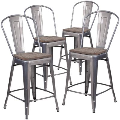 40.5 in. Clear Coated Barstool (Set of 4)
