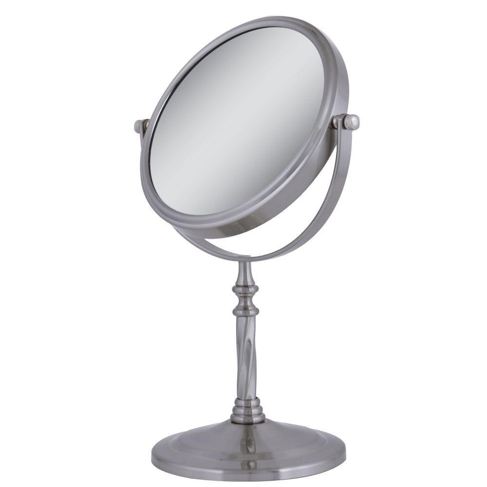 Dual-Sided Swivel Vanity Makeup Mirror in Satin Nickel