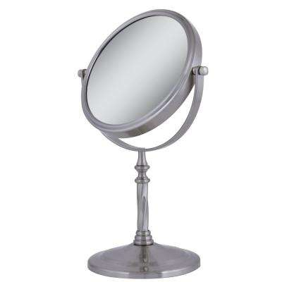 Dual-Sided Swivel Vanity Makeup Mirror in Satin Nickel