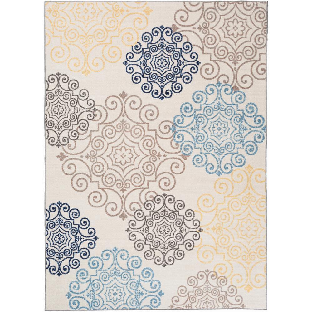 Modern Floral Swirl Design Cream 2 Ft X 3 Ft Area Rug