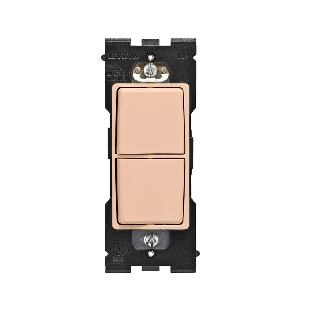 Leviton Renu 15 Amp Single-Pole Rocker Combination Switch - Dapper Tan-DISCONTINUED