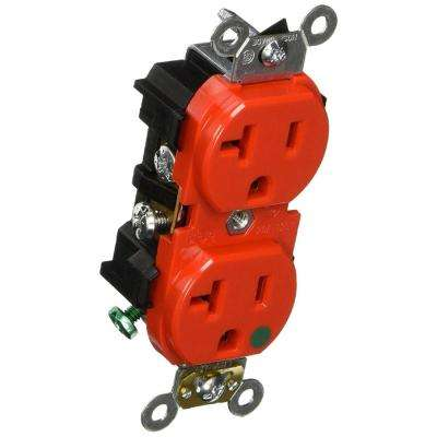 20 Amp 125-Volt Hospital Grade Duplex Outlet, Red