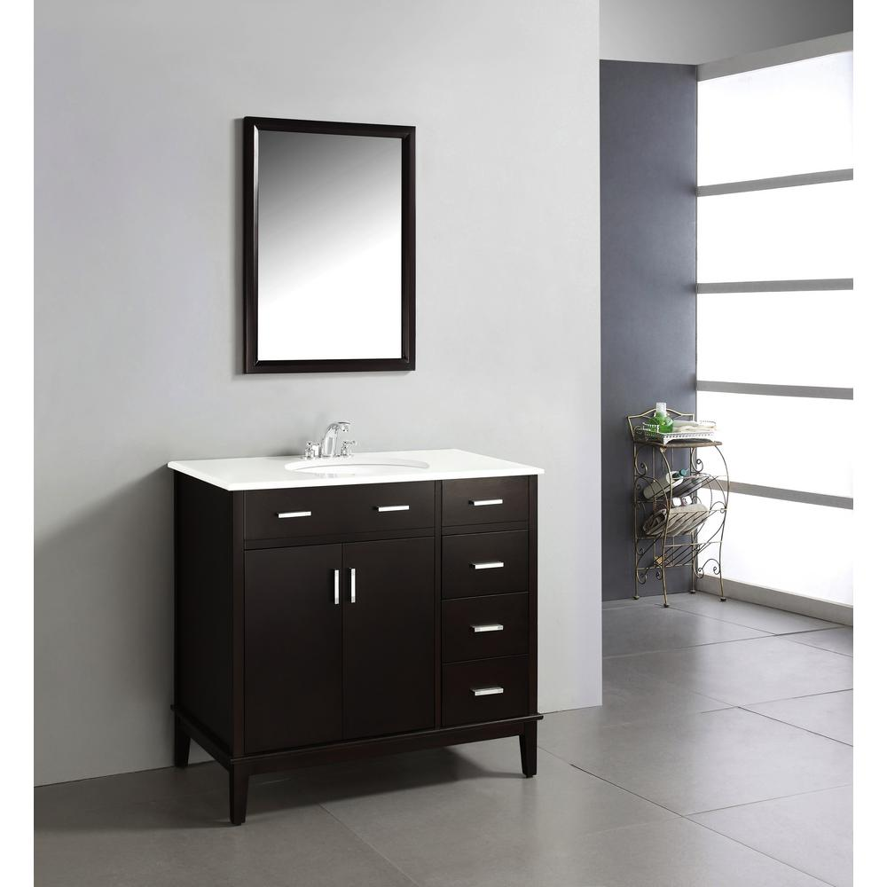 Vanity In Espresso Brown With Quartz Marble Top