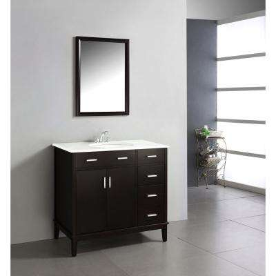 Urban Loft 36 in. Vanity in Espresso Brown with Quartz Marble Vanity Top in White and Under-Mounted Oval Sink