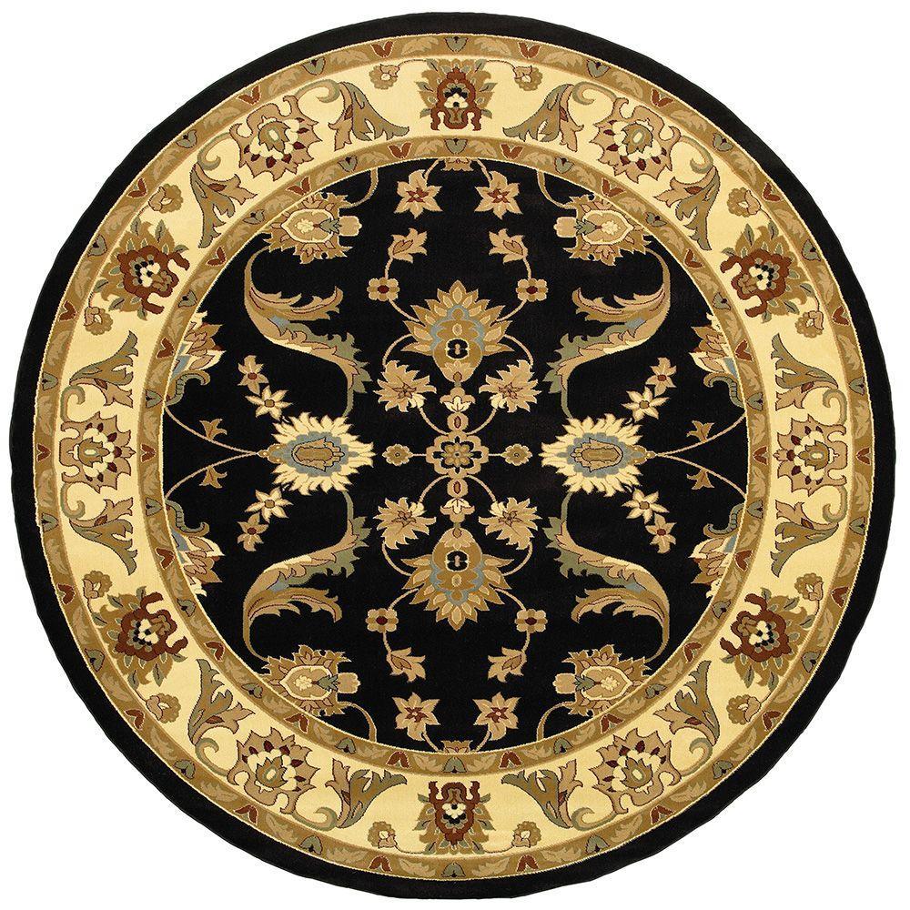 LR Resources Adana Black/Cream 6 ft. 2 in. x 6 ft. 2 in. Round Plush Indoor Area Rug