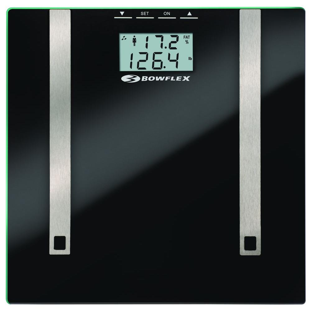 "Bowflex by Taylor Glass Body Fat Scale. Uses BIA to estimate body fat & body water percentages to 0.1%. Athlete mode. Estimates muscle mass. 4 memories store personal data. Accurate to 400lb. 1.5"" LCD readout. 11.8""x12.2"" tempered glass platform."