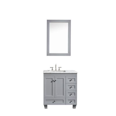 Acclaim 30.5 in. W x 22 in. D x 34 in. H Vanity in Grey with Carrara Marble Vanity Top in White with White Basin