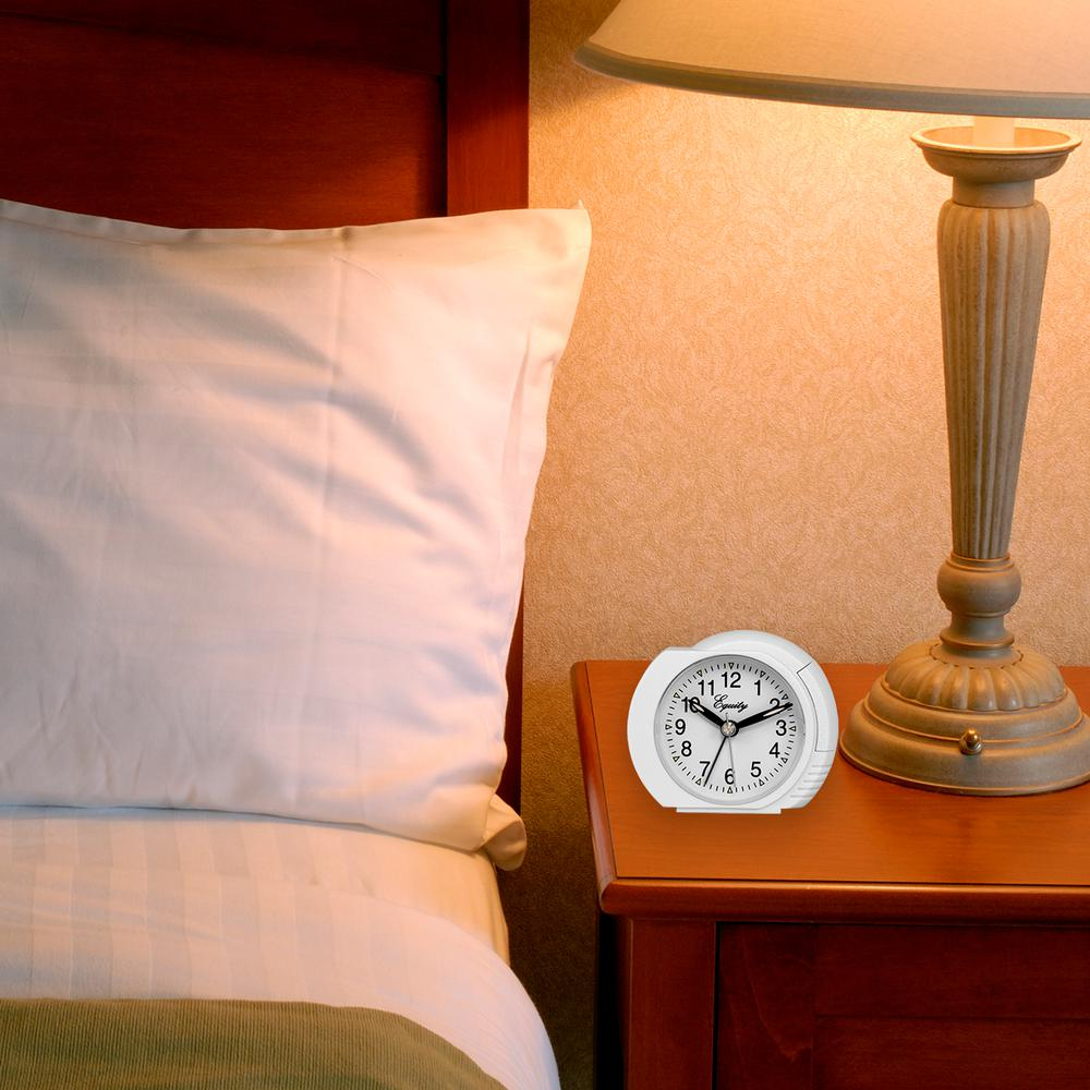 La Crosse Technology Small 3 in. Quartz Analog Alarm Table Clock with On-Demand Backlight, Whites