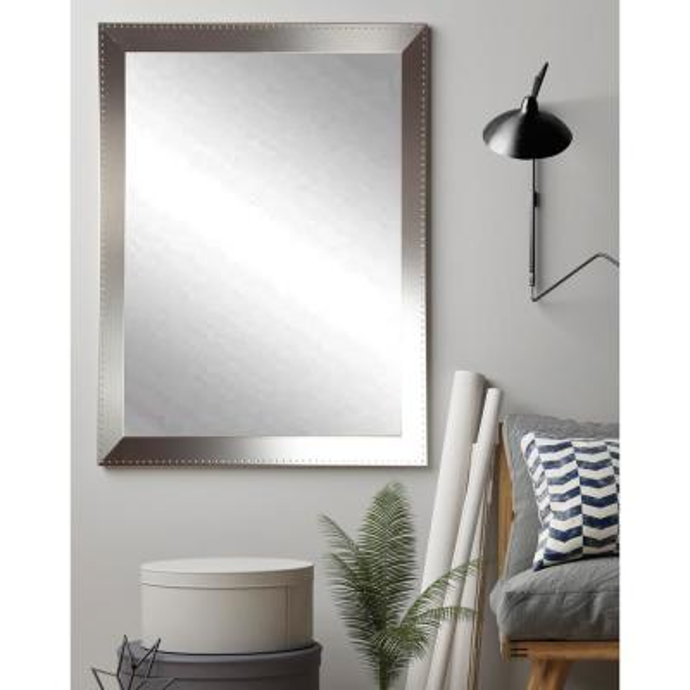 Medium Rectangle Silver Hooks Modern Mirror (48 in. H x 30 in. W)