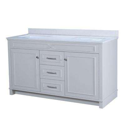 Bombay 60.5 in. W x 22 in. D Vanity in French Gray with Quartz Vanity Top in White with White Basin