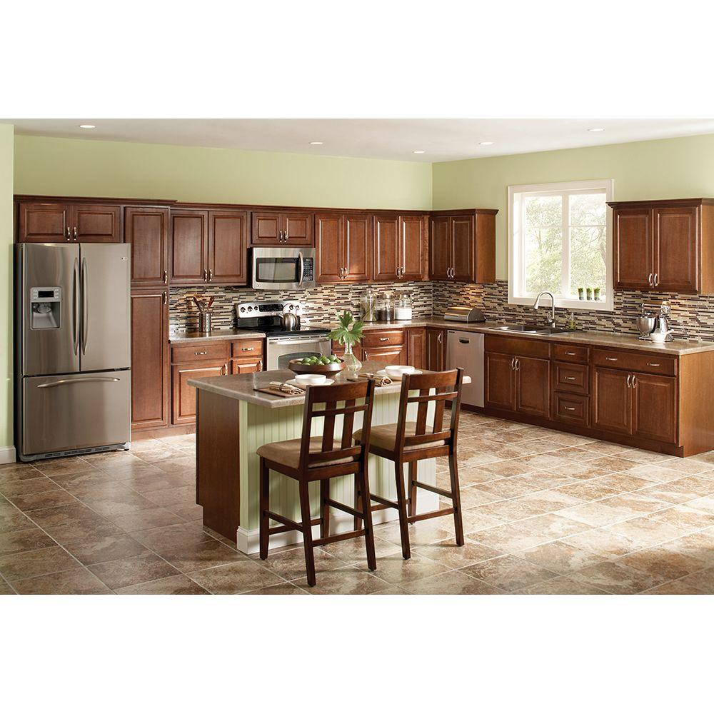 Hampton Bay Hampton Assembled 15x30x12 In. Wall Kitchen Cabinet In  Cognac KW1530 COG   The Home Depot