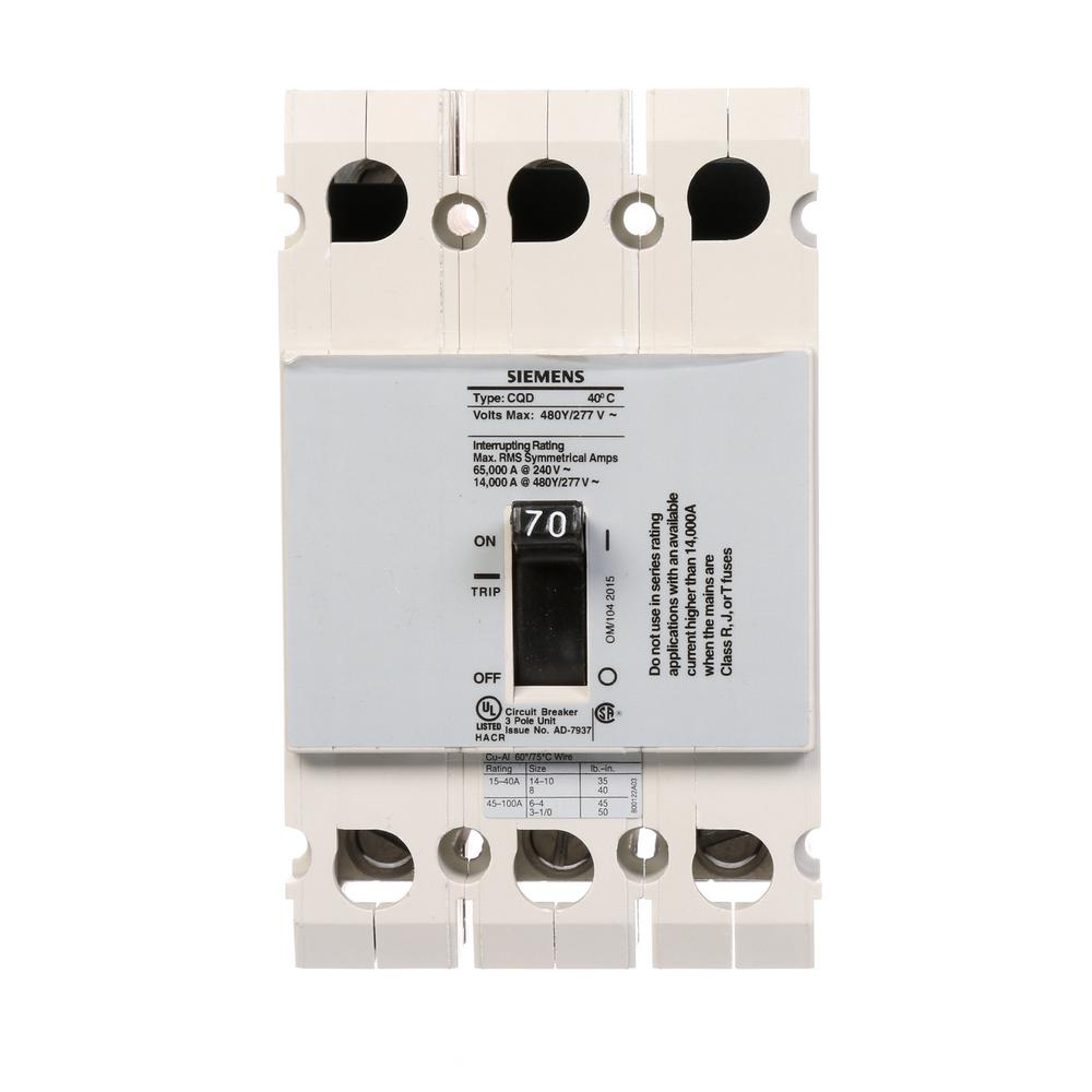 Siemens 70 Amp Triple Pole Type CQD Cable In Out DIN Rail Circuit Breaker