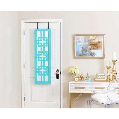 Modern Jewelry Armoire with Decorative Mirror - Turquoise