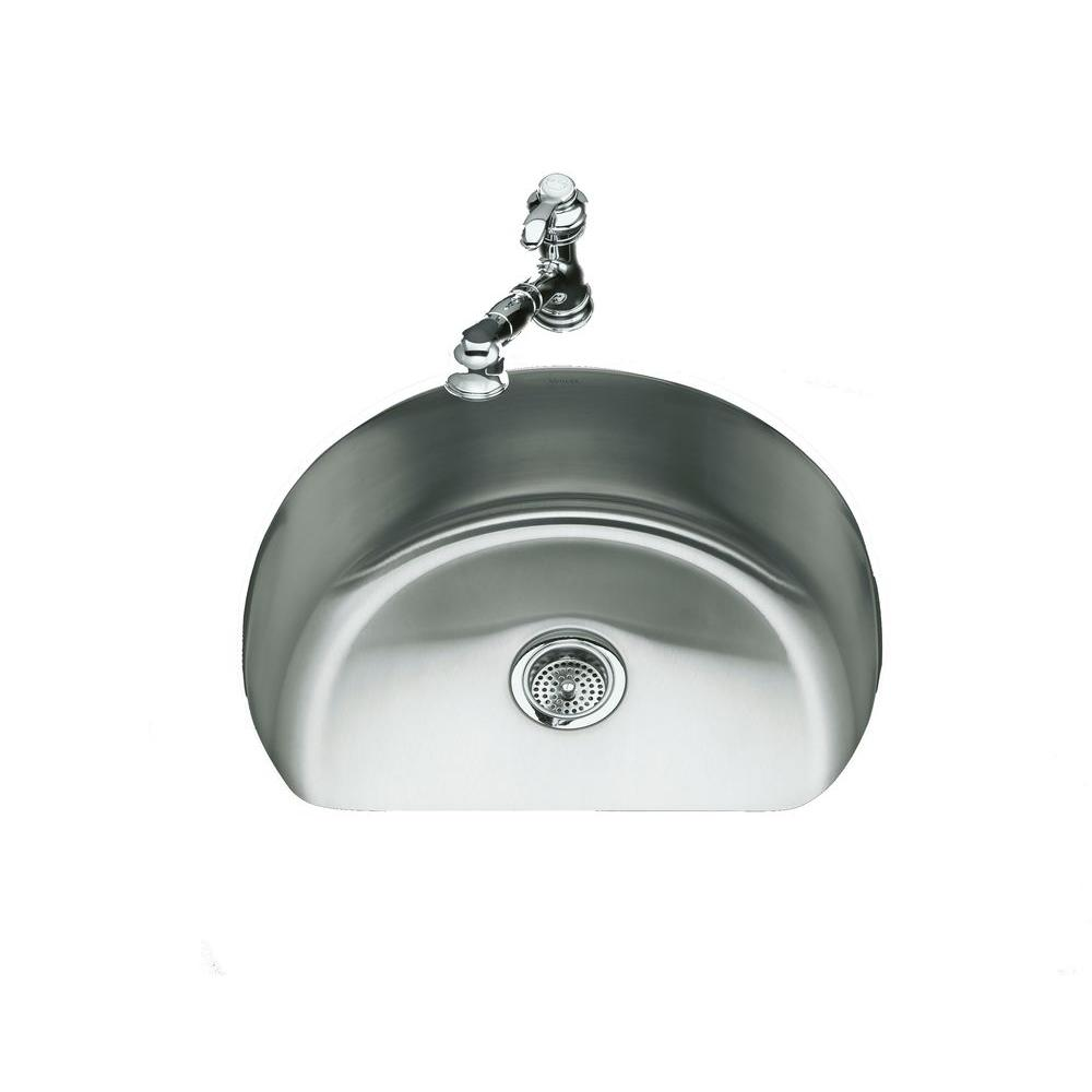 Undertone Undercounter Stainless Steel 24 in. Single Bowl Kitchen Sink