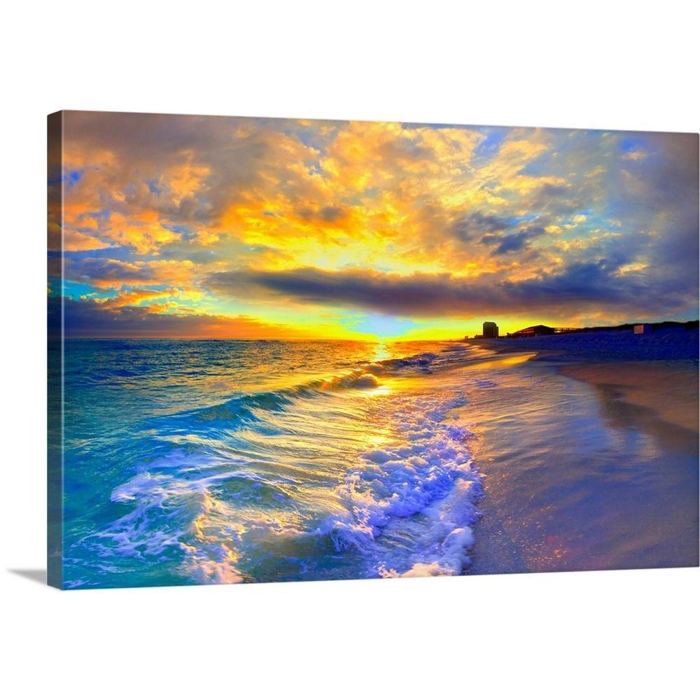 Santorini Greece Canvas Seascape Beautiful Panorama Wall  Picture Home Decor