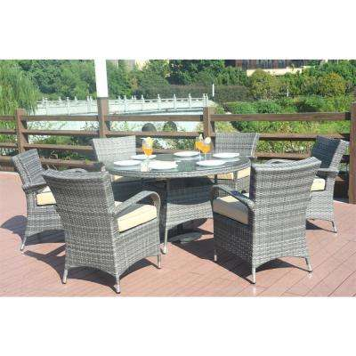 Sicily 7-Piece Wicker Outdoor Dining Set with Washed Cushion-Grey Wicker