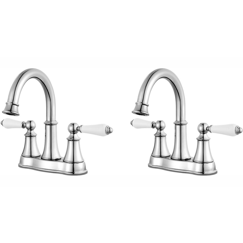 Pfister Courant 4 in. Centerset 2-Handle Bathroom Faucet in Polished Chrome  with White Handles (2-Pack Combo)